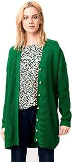 f8fcbb878447 Compañia Fantastica - 5 Chaqueta Verde Punto Larga Boton Perla M, Verde