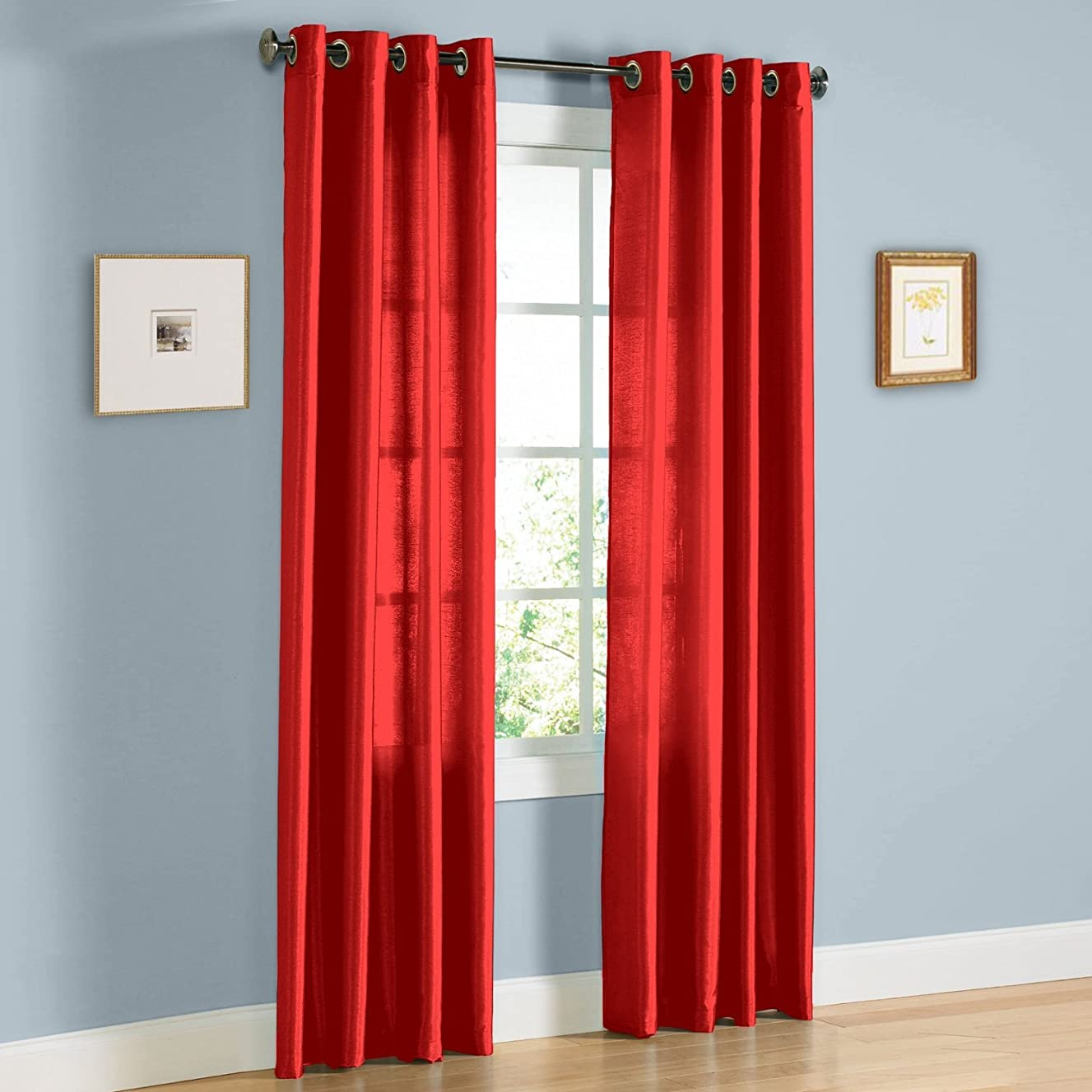 Gorgeous Home 1 PANEL SOLID BRIGHT RED SEMI SHEER WINDOW FAUX SILK ANTIQUE BRONZE GROMMETS CURTAIN DRAPES MIRA AVAILABLE IN DIFFERENT SIZES (63