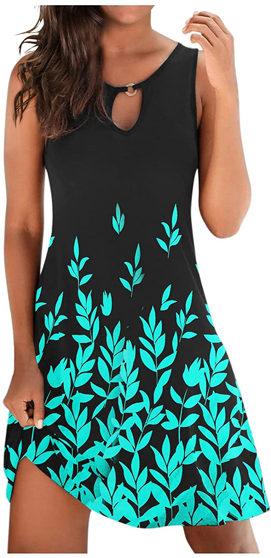 TAYBAGH Summer Dresses for Women 2021, Womens Casual Stripe Print Sleeveless Boho Sundress Loose Swing Beach Short Dress