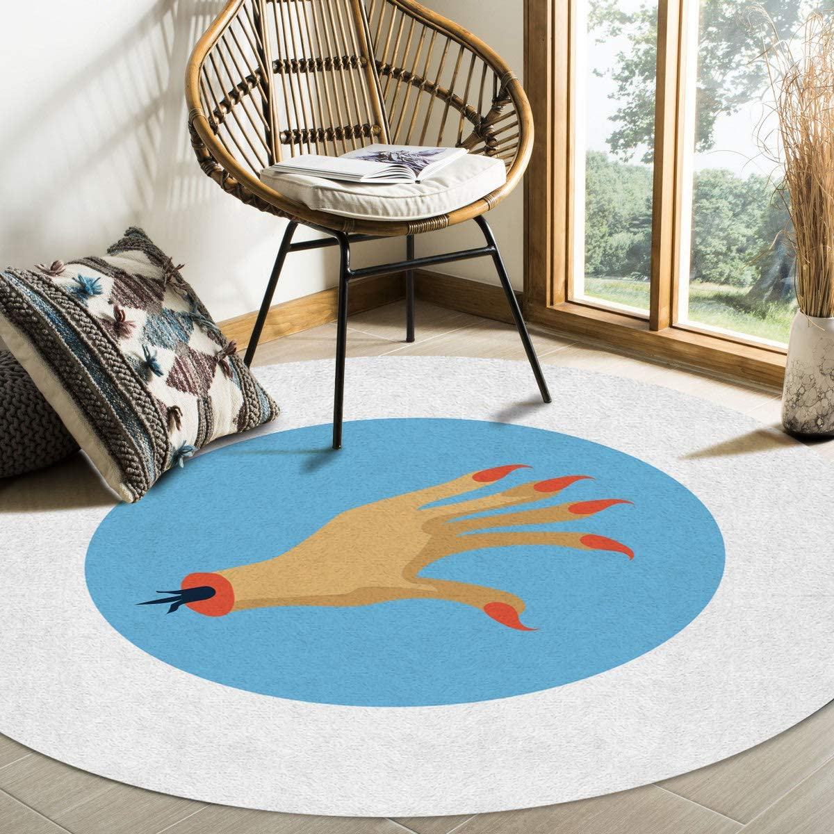 Modern Round Area Rug 6 for Bedroom Non-Shedding OFFicial shop Low-Profi Surprise price Feet
