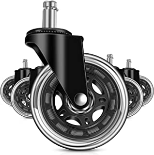 Office Chair Caster Wheels Set of 5, MOSTON Rubber Universal fit Replacement for Home, Durable Heavy Duty and Safe for All Floors Including Hardwood, Rollerblade Style Smoothly on Carpet or Mat