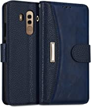 """IDOOLS Leather Wallet Phone Case for Huawei Mate 10 Pro, Folding Flip Cases Protective Cover Strong Magnetic Closure Protector with Card Slots Kickstand (Blue, 6.0"""")"""