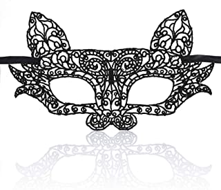 Barode Venetian Masquerade Mask Luxury Cat Eyes Lace Mask Black Halloween Christmas Party Ball Fancy Dress for Women and Girls (1 PCS)