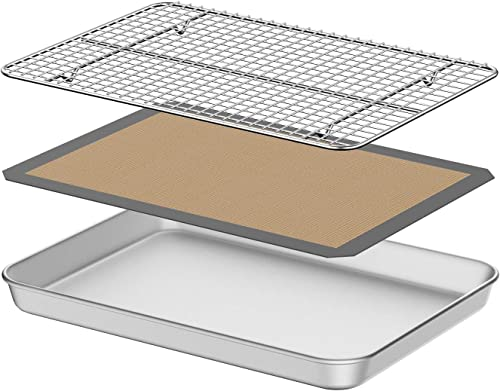 wholesale Baking Sheet with discount Silicone Mat, Umite Chef 10 inch Cookie Sheet Baking Pan Set, Non sale Toxic Silicone Baking Mat & Stainless Steel Cooling Rack Heavy Duty & Easy Clean online