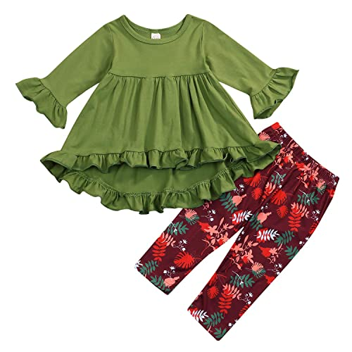 9e32630cb3bfb Toddler Baby Girls Ruffle Flare Tunic Dress Top+ Floral Pants Clothing 2pcs  Outfits