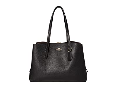 COACH Polished Pebble Leather Charlie 40 with Laptop Compartment (GD/Black) Bags