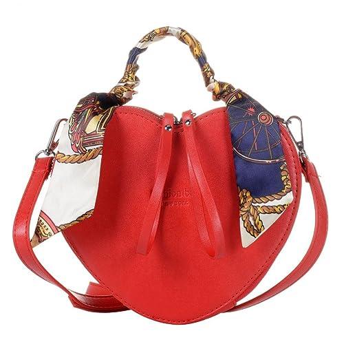 QZUnique Women s Heart Shape PU Leather Handbag Exquisite Shoulder Bag Silk  Top Handbag Shoulder Bag 88a167192