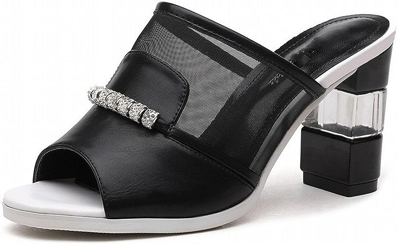 YTTY Fil Net épais avec des Chaussures épaisses De La Salle De Bain des Les Les dames Chaussures Cool Chaussures Mode Noir 38