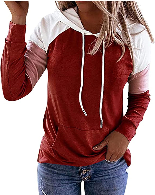 Patchwork Hoodies for Womens Fall Fashion Casual Hooded Drawstring Tee Long Sleeve Shirt Blouse Trendy Top Sweatshirt