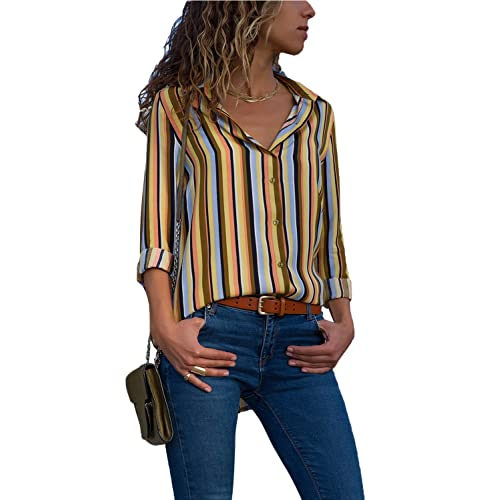5c76c5b3115af5 Ecrocoo Women Button Down V Neck Color Block Stripes Casual Cuffed Long  Sleeve Chiffion Blouse Tops