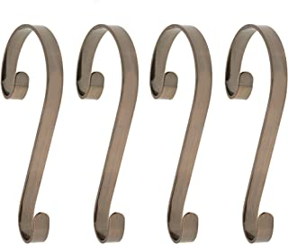 Haute Decor Stocking Scrolls 4-Pack Stocking Hanger Set (Oil-Rubbed Bronze)