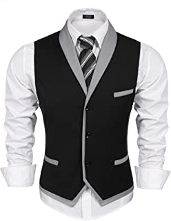 COOFANDY Men`s Suit Vest Slim Fit Business Wedding Vests Dress Waistcoat
