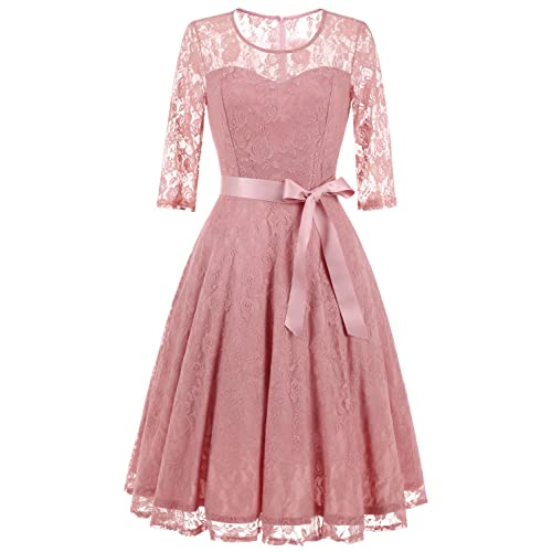 30a0421696 Dressystar Women's Elegant Floral Lace Dress 3/4 Sleeves Bridesmaid Midi  Dresses Illusion Neckline