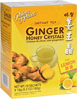 Prince of Peace Instant Lemon Ginger Honey Crystals, 10 Sachets – Instant Hot or Cold Beverage for Nausea Relief and Sooth...