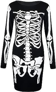 Womens Long Sleeves Skeleton Print Halloween Bodycon Dress