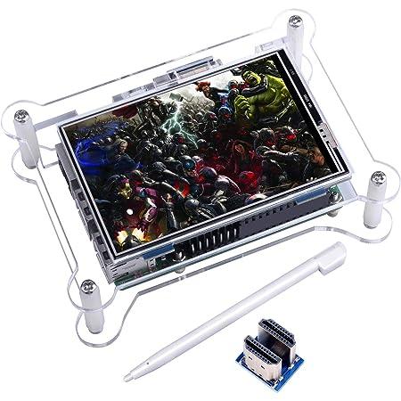 Kuman 3.5インチ HDMI 小型モニター 480*320 ラズベリーパイ3b タッチスクリーン ディスプレイ ビデオ/ゲーム可能 保護ケースセット raspberry pi 3 b+ 2 Model B A+ A に対応 ラズベリー パイ SC6AC