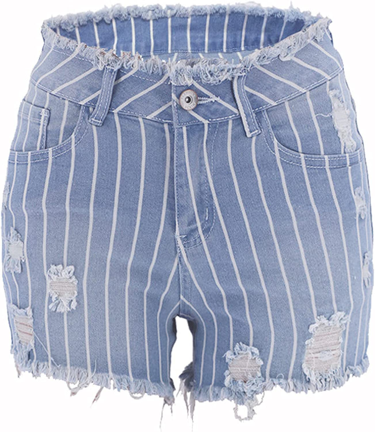 Qinvern Women's Washed Denim Shorts for Summer Mid Rise Hollow Chain Frayed Raw Hem