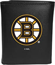 Siskiyou NHL Boston Bruins Unisex SportsLeather Tri-fold Wallet, Large Logo, Black, One Size