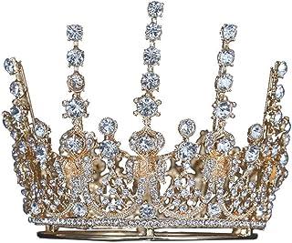 YNYA Tiare Wedding Crown Wedding Baroque Round Crown Earrings Set Queen Crown Wedding Dress Accessori Regali di Nozze
