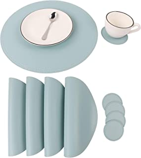 Faux Leather Round Placemats and Coasters, Coffee Mats Kitchen Table Mats, Waterproof, Easy to Clean for Kitchen Dining Round Table