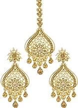 Bindhani Women's Indian Style Bollywood Jewellery Hair Accessories Maang Tika Headpiece Bridal Bridesmaid Wedding Traditional Bahubali Gold Plated Chandbali Kundan Earrings Mang Tikka Jewelry