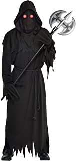 amscan Light Up Glaring Grim Reaper Halloween Costume for Adults, Standard, with Included Accessories