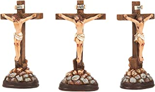 Juvale Religious Statues - 3-Pack Jesus Cross Crucifix Figurines - Holy Catholic Crosses, Resin Figures of Christ's Crucifixion - 1.7 x 3.6 x 1.25 Inches