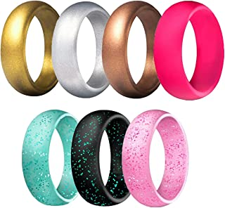 YAKA Womens Silicone Wedding Ring Band, Stackable Silicone Rubber Wedding Bands,Size 4 5 6 7 8 9 10,Classic Style, 7 Rings,Comfortable fit Skin Safe,5.7mm Wide