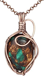 Bonnie Handmade Wire Necklace Natural Stone Agate Women's Art Jewelry-Wire Wrap Pendant