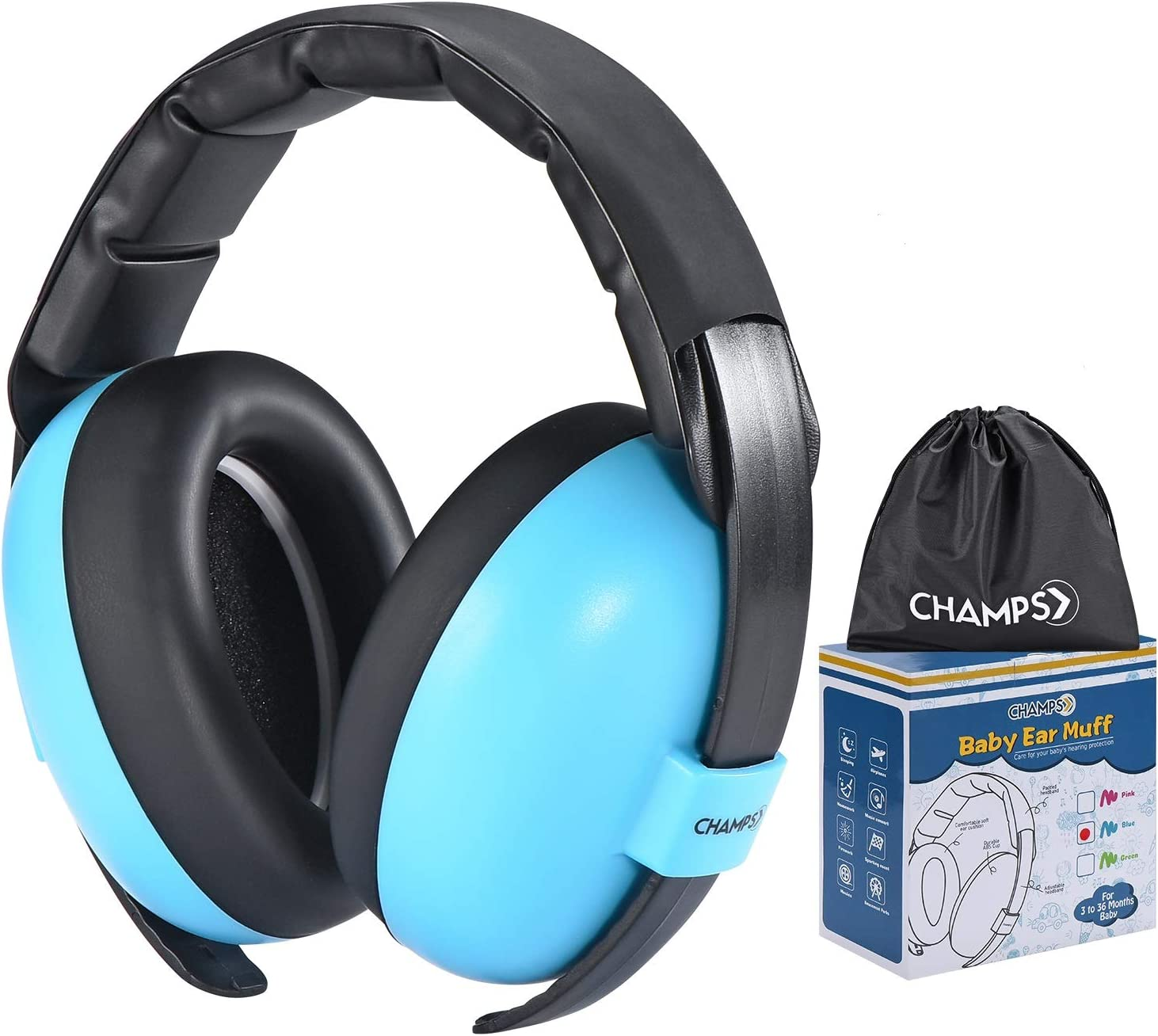 Baby Ear Muffs, Champs Baby Earmuff Noise Protection Reduction Headphones for 0-3 Years Babies, Toddler, Infant, Safety Hearing Ear Muff Shooting Range Hunting Season [Blue]
