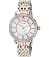 Michele - Sidney Classic White Mother-of-Pearl with Diamonds, Two-Tone Silver/Rose Gold