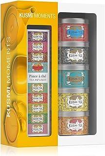 Kusmi Tea – Geschenkset Moments mit 5 Minidosen  Teezange – Auswahl aromatisierter Tees – Schwarztees, Earl Grey und der exotische Früchtetee Mischung AquaExotica – 5 x 25 g Metalldosen