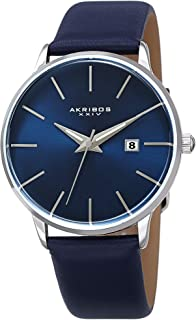 Akribos XXIV Men's Domed Crystal Slim Classic Watch AK1064 Series - Three Hand with Date Genuine Leather Strap (Blue)