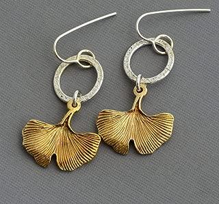 Ginkgo leaf dangle sterling silver hoop earrings modern nickel free jewelry