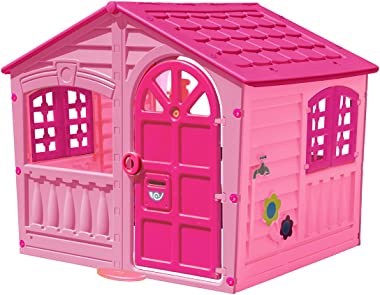 Palplay M780P  Kids Outdoor Playhouse - Colorful Pink & Purple Fun House