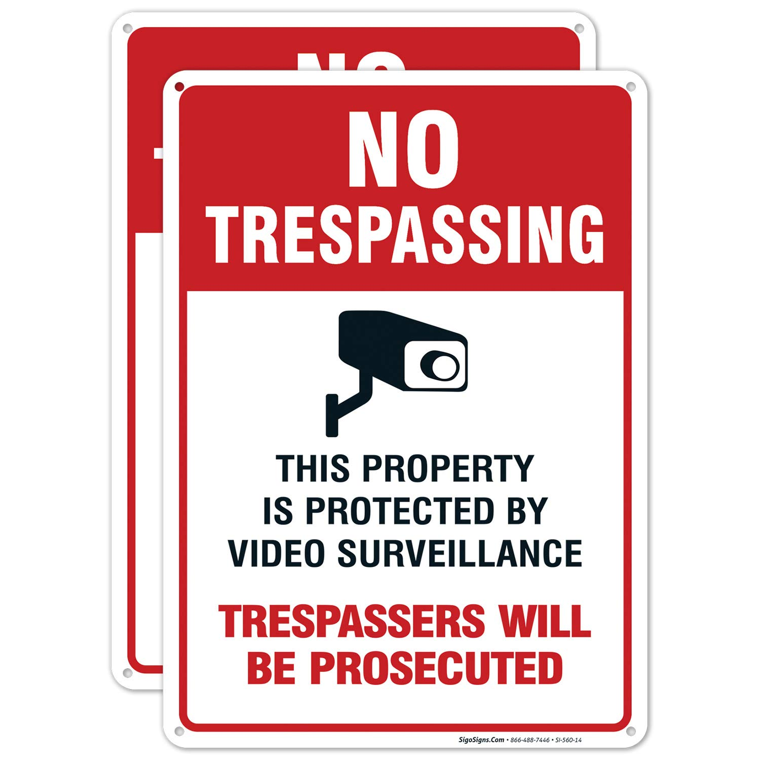 2 Pack Outlet SALE No Trespassing Sign Video 10x14 Surveillance Over item handling ☆ Rus