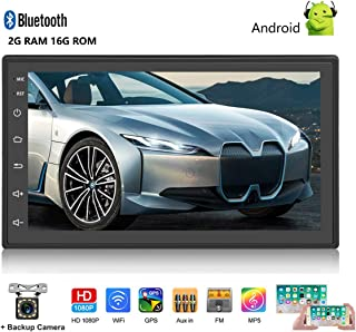 Android Car Stereo Double Din GPS Navigation Stereo 2G 16G Car Radio with Bluetooth 7 HD Touch Screen Car MP5 Player Support FM Radio Receiver/WiFi/USB Input/SWC/Mirror Link +12 LED Rear View Camera