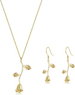 Sllaiss 925 Sterling Silver Rose Flower Necklace and Earrings Set 18k Gold Plated Rose Jewelry Set for Women Dainty Valent...