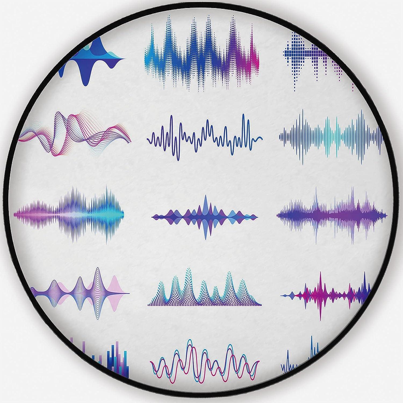 Sound Waves.Frequency o Waveform Carpet Fashion Wave Music Round Award Rug