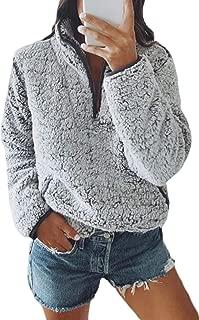 Fleece 1/4 Zip Up Fuzzy Sherpa Pullover Sweatshirt Fluffy Outerwear Coat for Women with Pockets