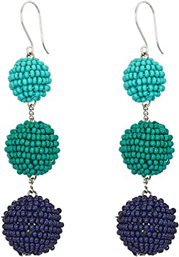 Chan Luu - 3 Tiered Seed Bead Multicolored Pom Pom Earrings