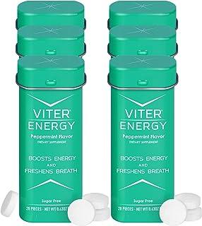 Viter Energy Caffeinated Mints - 40mg Caffeine, B Vitamins, Sugar Free Vegan Breath Mint. Powerful Energizing Boost. 2 Ene...