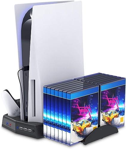 FYOUNG Manette Chargeur Station avec Ventilateur pour PS5, Vertical Support pour PS5 Console Accessoires avec 14 Stoc...