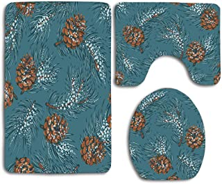 Huayuanhurug Green Etching Branch Christmas Frost On Vintage Cone Coniferous December Happy Snow Drawing Drawn Bathroom Rug Mat Set of 3pcs,Anti-Skid Toilet Seat Cover Bath Mat Lid Cover