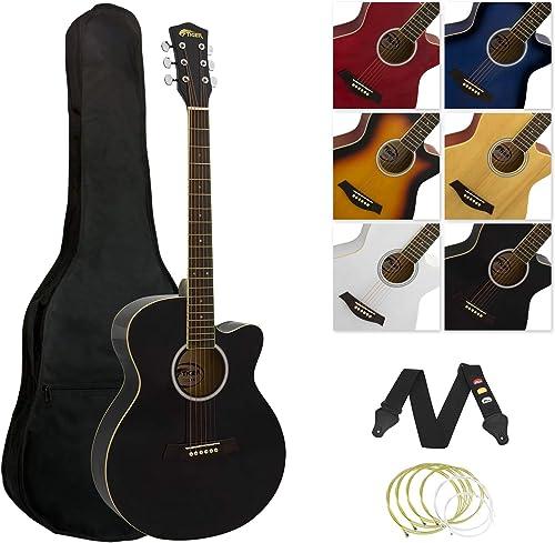 Kit de guitare acoustique à petit corps Tiger - Noir