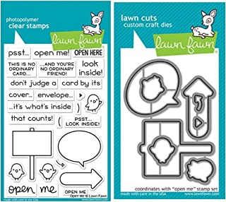 "Lawn Fawn""Open Me"" 4""x6"" Clear Stamp Set and Matching Lawn Cuts Die Set (LF1894, LF1895), Bundle of Two Items"