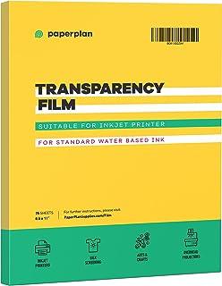 "(25 Sheets) Transparency Paper Sheets For Inkjet Printer Film (8.5 x 11"") Sheet Plastic Screen Transfer Printable Premium ..."