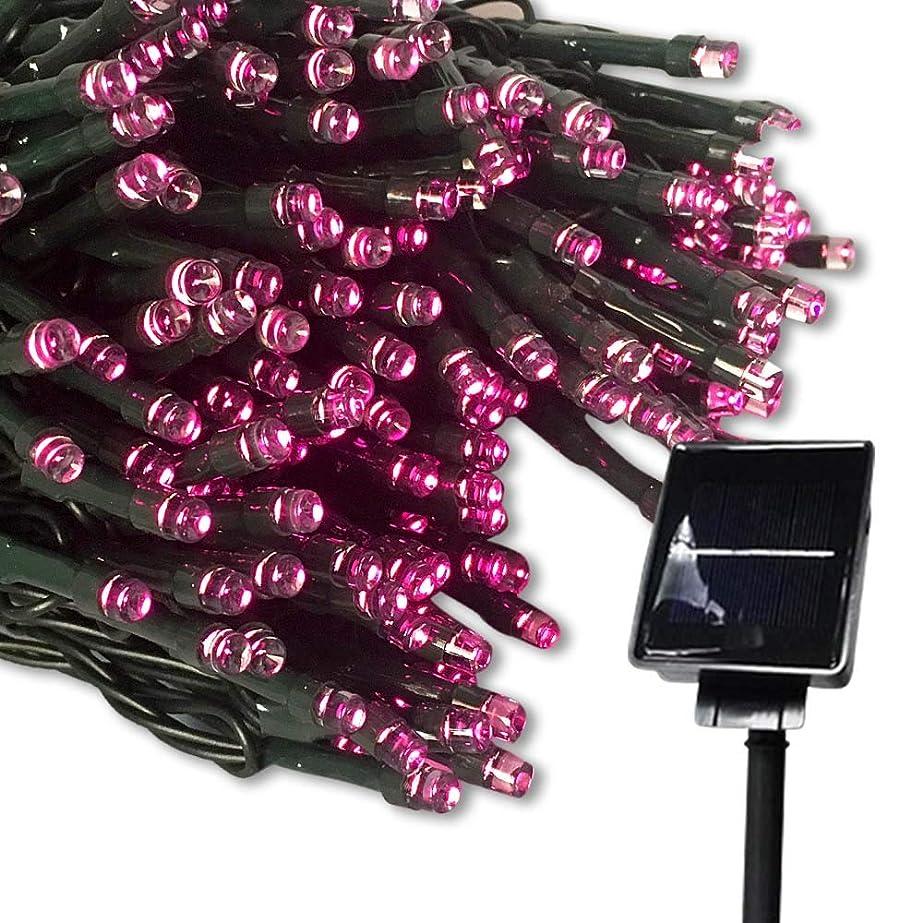 ピラミッド乱れ細胞LED ソーラー イルミネーション 太陽発電 200球 9色 点灯8パターン 防雨 屋外 クリスマス イルミ 自動ON/OFF (ピンク)
