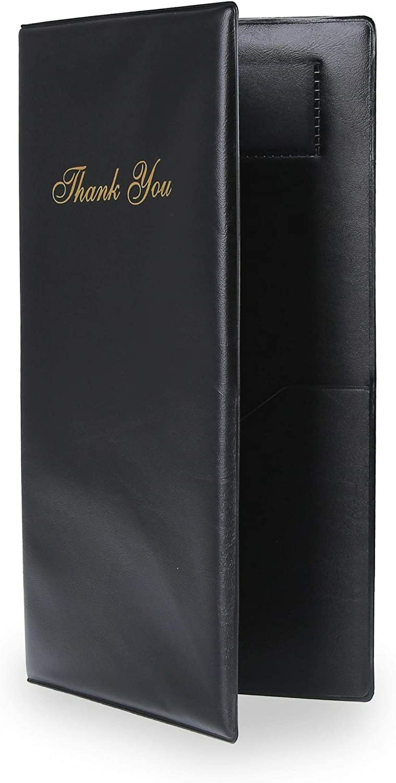 Budgetizer Guest Check Card Holder Presenter - 60 Pack Restaurant Server Bill Book - Black with gold Thank You Imprint - Size 5.5  x 10