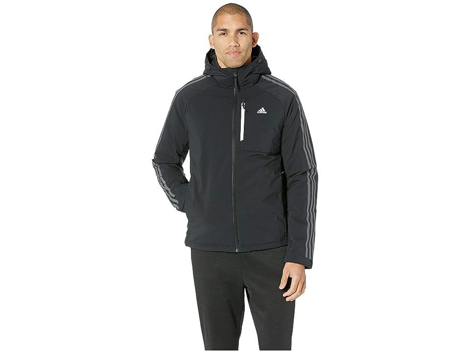Image of adidas Outdoor 3-Stripe Down Hoodie (Black/Black) Men's Coat